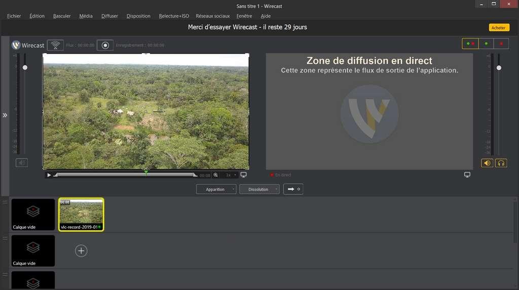 L'interface de Wirecast met en confiance et les vidéastes seront rapidement à l'aise. © Telestream, LLC