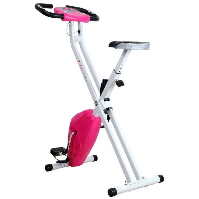 Vélo d'appartement cardio Fitness pliable écran LCD 8 niveaux de résistance selle réglable ©Cdiscount