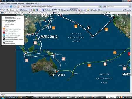Dans le Pacifique, le périple de Tara le conduira en Nouvelle-Zélande, en Australie, en Nouvelle-Guinée, en Indonésie, en Malaisie, en Chine (à Hong-Kong), à Taiwan, au Japon et au Kamtchatka. Ce sera alors le printemps dans l'hémisphère nord. © Tara Oceans