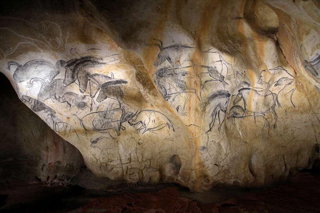 Le tableau des chevaux, dans la grotte Chauvet, est une succession de 21 figures de chevaux, aurochs et rhinocéros. © Claude Valette, Flickr