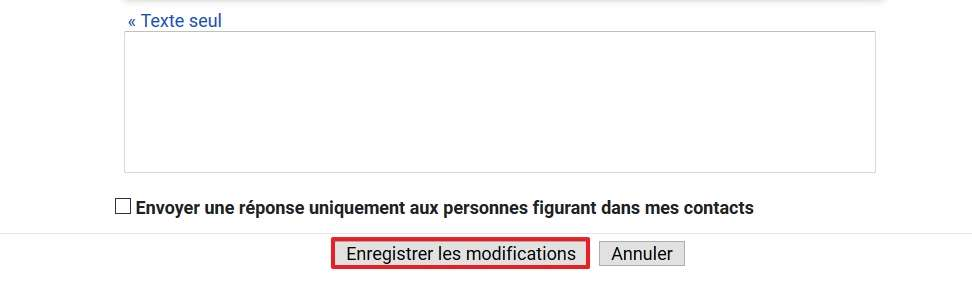 Enregistrez les modifications en bas de la page. © Google Inc.