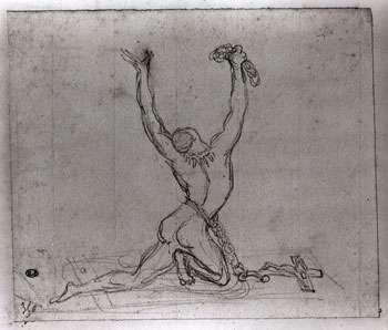 """David d'Angers """"abolition de l'esclavage"""" croquis à la mine de plomb © Musées d'Angers Pierre David"""