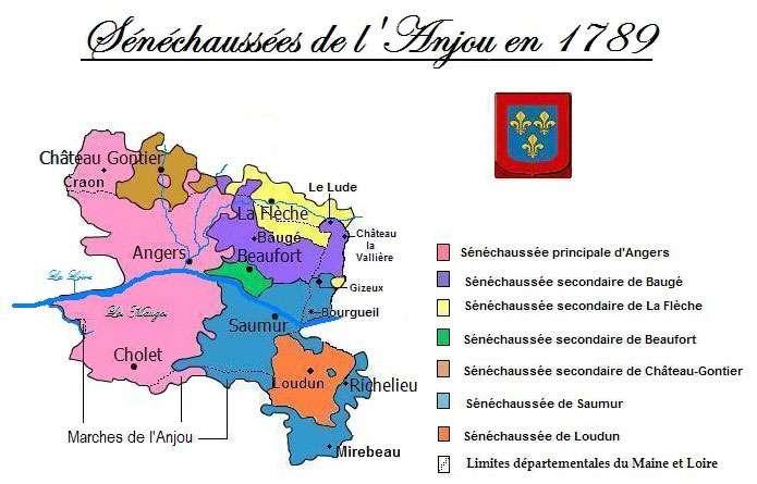Carte des sénéchaussées de l'Anjou au XVIIIe siècle. On aperçoit en rose la sénéchaussée principale d'Angers, en violet celle secondaire de Baugé, en jaune de La Flèche, en vert de Beaufort, en marron clair, bleu et orange, les sénéchaussées secondaires de Château-Gontier, de Saumur et de Loudun. © Parigot, Wikipédia