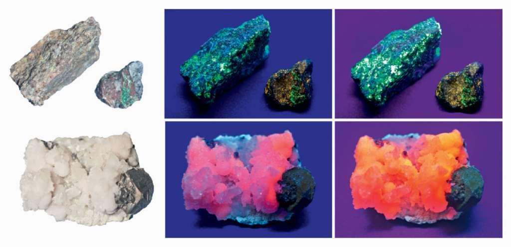 Les minéraux phosphorescents présentent des couleurs inattendues quand ils ne sont pas exposés à la lumière. © Dunod, DR