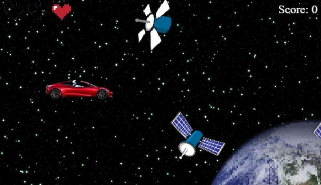 Le jeu Starman Tesla Game d'AutoWise adopte l'esthétique rétro des jeux en 8-bit. © AutoWise