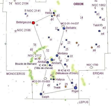 La nébuleuse de la Tête de Cheval se situe à côté de l'étoile Alnitak, dans la constellation d'Orion. © DR