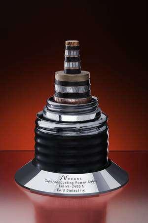 Le câble à supraconducteur, avec sa gaine cryogénique. © Nexans