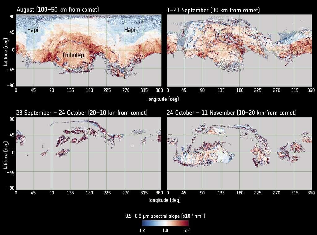 Les régions plus riches en poussière sombre et sèche apparaissent davantage rouge sur les cartes créées avec le spectromètre imageur Virtis. Avec l'activité qui augmente, les glaces sont plus exposées et la surface devient de plus en plus bleutée. © Esa, Rosetta, Virtis, INAF-IAPS, Observatoire de Paris-Lesia, DLR, G. Filacchione et al. (2016)