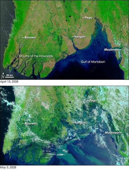Figure 1. Le sud de la Birmanie le 15 avril (en haut) et le 5 mai 2008 (en bas). Yangon est le nom birman de la ville de Rangoun. © Nasa/Modis Rapid Response Team at Nasa GSFC/Rebecca Lindsey