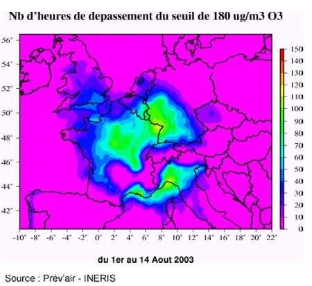 Nombre d'heures du dépassement - Du 1er au 14 Août (Copyright Ministère de l'Ecologie - Reproduction interdite) .