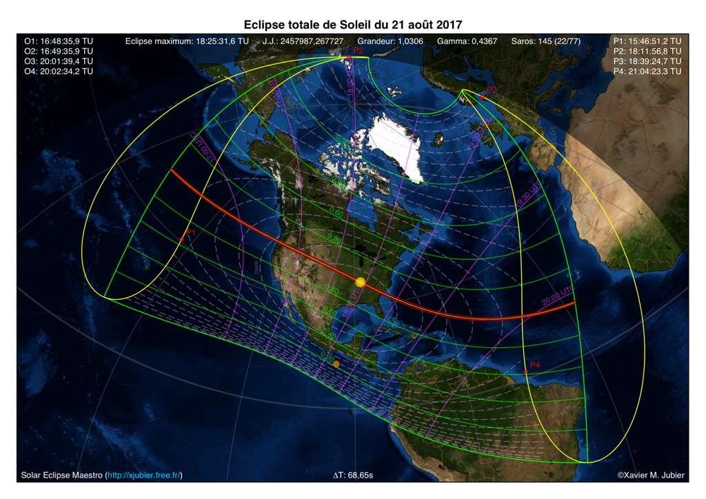Carte de visibilité de l'éclipse de Soleil du 21 août 2017. © Xavier Jubier