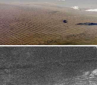 En haut : Dunes de sable dans le désert de Namibie En bas : Champ de dunes sur Titan (Crédits : En haut : JSC/NASA, en bas : Lorenz et al., Science)
