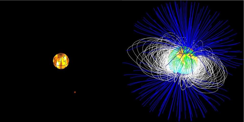 A gauche : les taches à la surface de la jeune étoile V830, autour de laquelle gravite la supposée planète géante. A droite : les lignes de champ magnétique de l'étoile ont été reconstruites à partir des observations ESPaDOnS. © CFHT