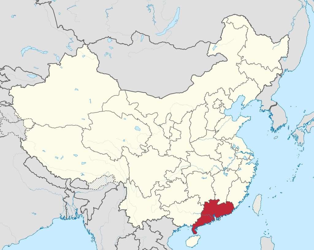 En rouge sur la carte, la province chinoise de Guangdong. © Wikipedia, CC by-sa 3.0