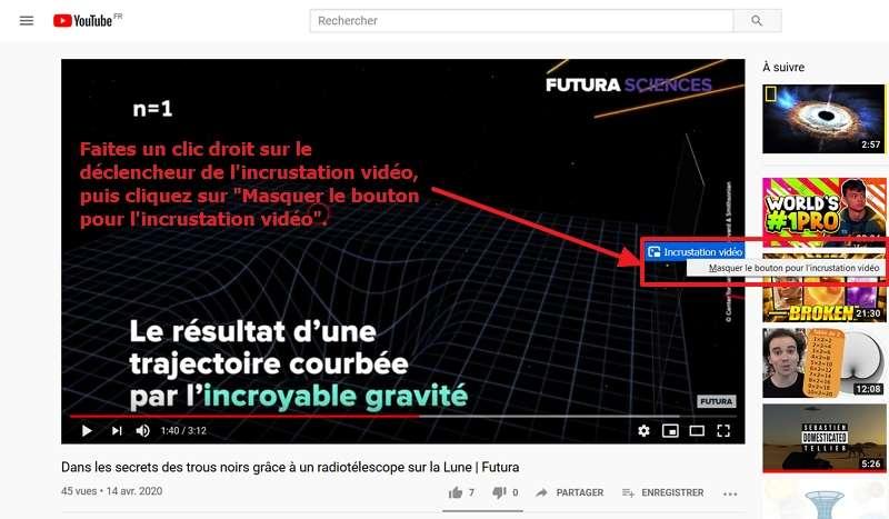 Désactivez l'incrustation vidéo directement sur la vidéo. © Google