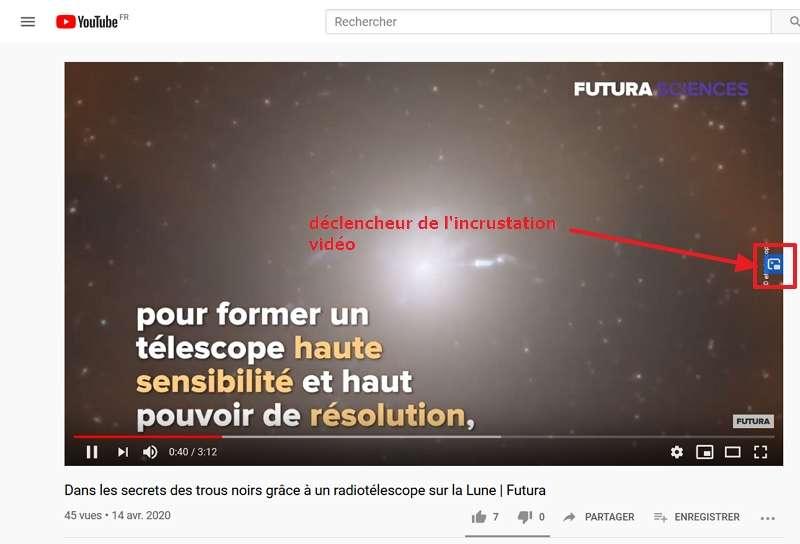 Le déclencheur est placé sur la bordure droite de la vidéo. © Google