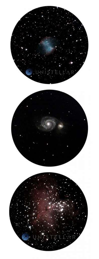 De haut en bas, la nébuleuse de l'Haltère, la galaxie du Tourbillon et la nébuleuse de l'Aigle, observées avec le télescope d'Unistellar à l'observatoire des Baronnies Provençales, en France. © Unistellar