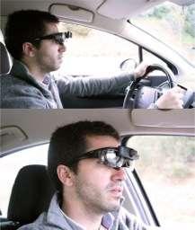 Pour concevoir le système STS, les chercheurs de l'université de Porto ont testé un système d'affichage tête haute basé sur des lunettes à réalité augmentée. Une option qui n'est évidemment pas envisageable pour un usage grand public. © Université de Porto