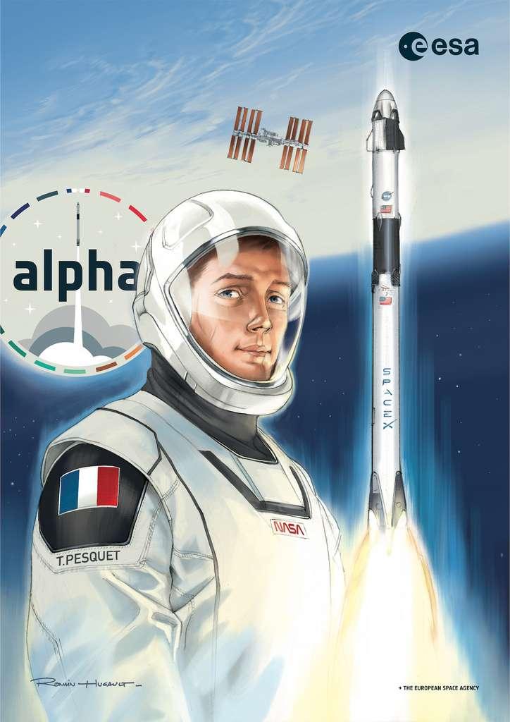 Ce poster de la mission Alpha a été réalisé par l'artiste Romain Hugault pour marquer le retour dans l'espace de Thomas Pesquet. © Romain Hugault