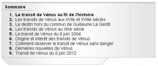 Dossier Transit de Vénus : un sommaire appétissant !