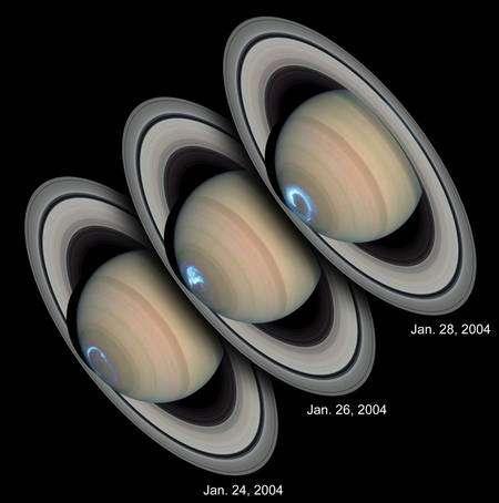 Cliquer pour agrandir. Les aurores causées par les particules du vent solaire dans la magnétosphère de Saturne. Crédit : Nasa