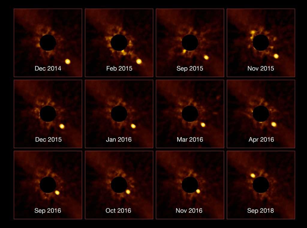 Le très grand télescope (VLT) de l'ESO a capturé une série d'images sans précédent montrant le passage de l'exoplanète Bêta Pictoris b autour de son étoile parente. Cette exoplanète jeune et massive a été découverte en 2008 à l'aide de l'instrument Naco du VLT. © ESO/Lagrange/SPHERE consortium