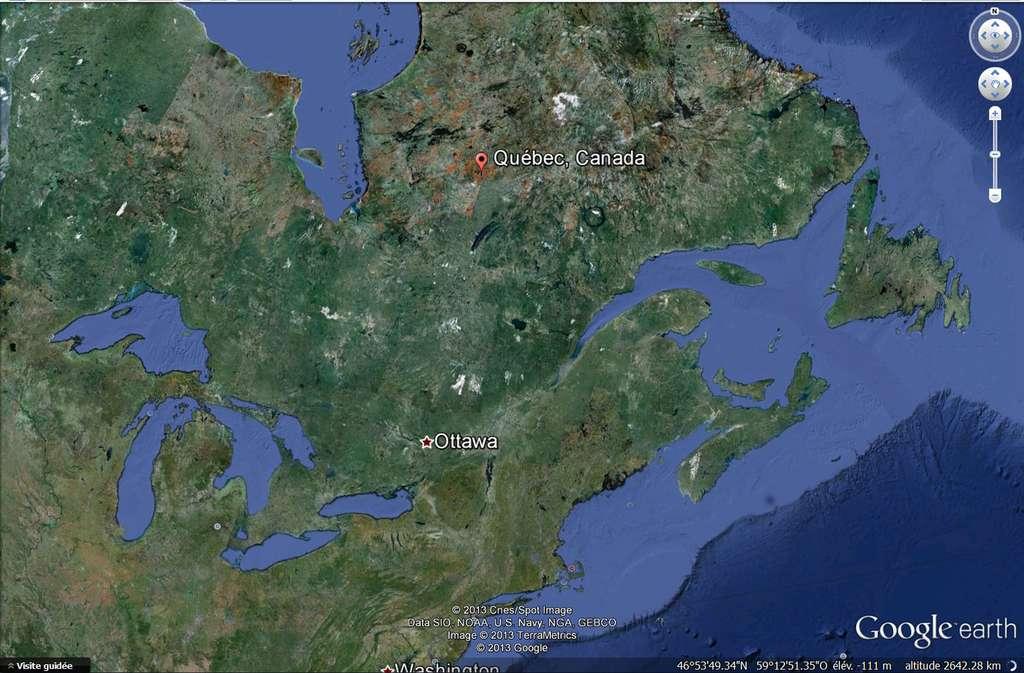 Le Saint-Laurent est le seul émissaire des Grands Lacs : il coule à partir du sud-ouest jusqu'au nord-est en Amérique du Nord, et relie les Grands Lacs à l'océan Atlantique. © DR