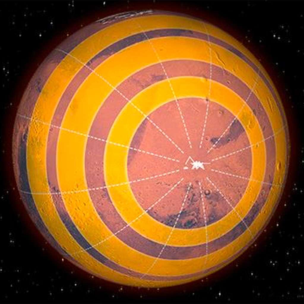 Première carte globale de séismicité pour la planète Mars. La très grande majorité des séismes martiens ne peuvent pas pour l'instant être localisés précisément. Seule, la distance à la station de mesure InSight peut être déterminée, tandis que l'orientation par rapport aux points cardinaux demeure inconnue, d'où une répartition approximative sur des cercles. © IPGP, Nasa InSight, Seis team