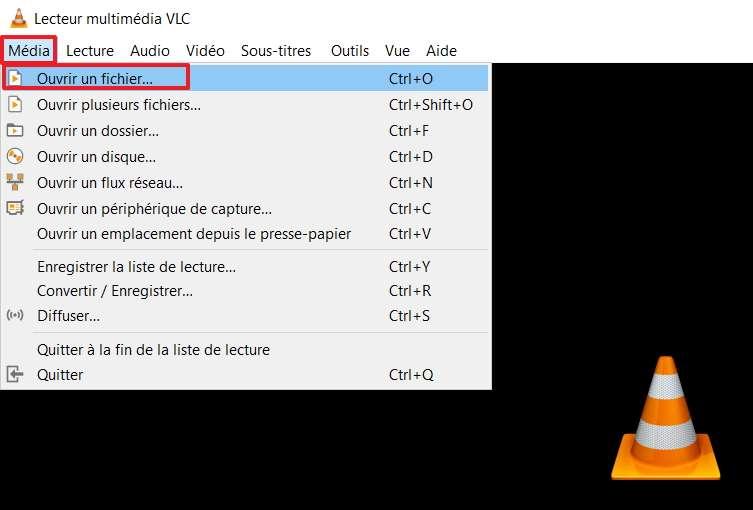 Cliquez sur « Ouvrir un fichier » qui se trouve dans le menu contextuel de « Média ». © VideoLAN Foundation