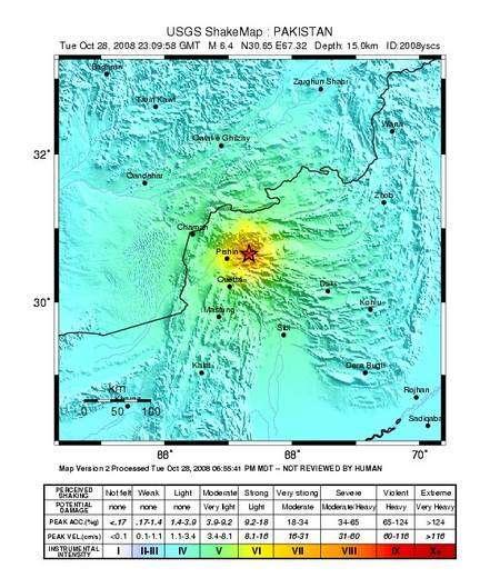 Carte de la zone de l'épicentre. Le trait noir représente la frontière entre le Pakistan (en bas) et l'Afghanistan (en haut). Cliquez sur l'image pour agrandir. © USGS
