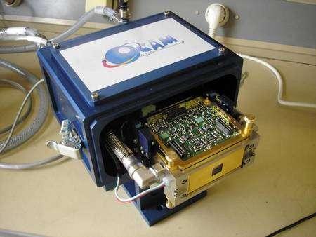 Ocam, la caméra en lumière faible la plus rapide au monde. Résultat d'un projet de recherche européen, elle peut prendre 1.500 images à la seconde avec une sensibilité extrême. OCam a été spécialement conçue et réalisée par une équipe d'ingénieurs français du LAM, du LAOG et de l'OHP, utilisant le CCD220 développé par e2v Technologies. La Technologie mise au point pour OCam a été transférée à l'ESO pour la seconde génération d'instruments pour le VLT de l'ESO. © P. Balard/INSU-CNRS