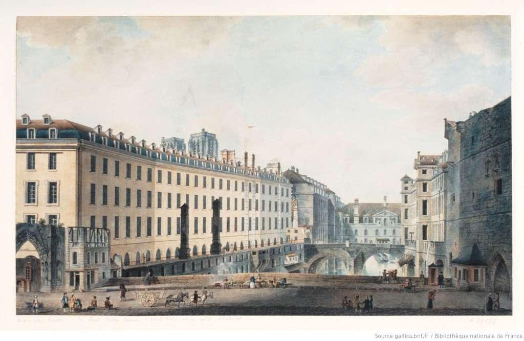 Aquarelle de Victor Nicolle représentant l'Hôtel-Dieu et le Petit Châtelet de Paris, XVIIIe siècle. Bibliothèque nationale de France. © Gallica, BnF