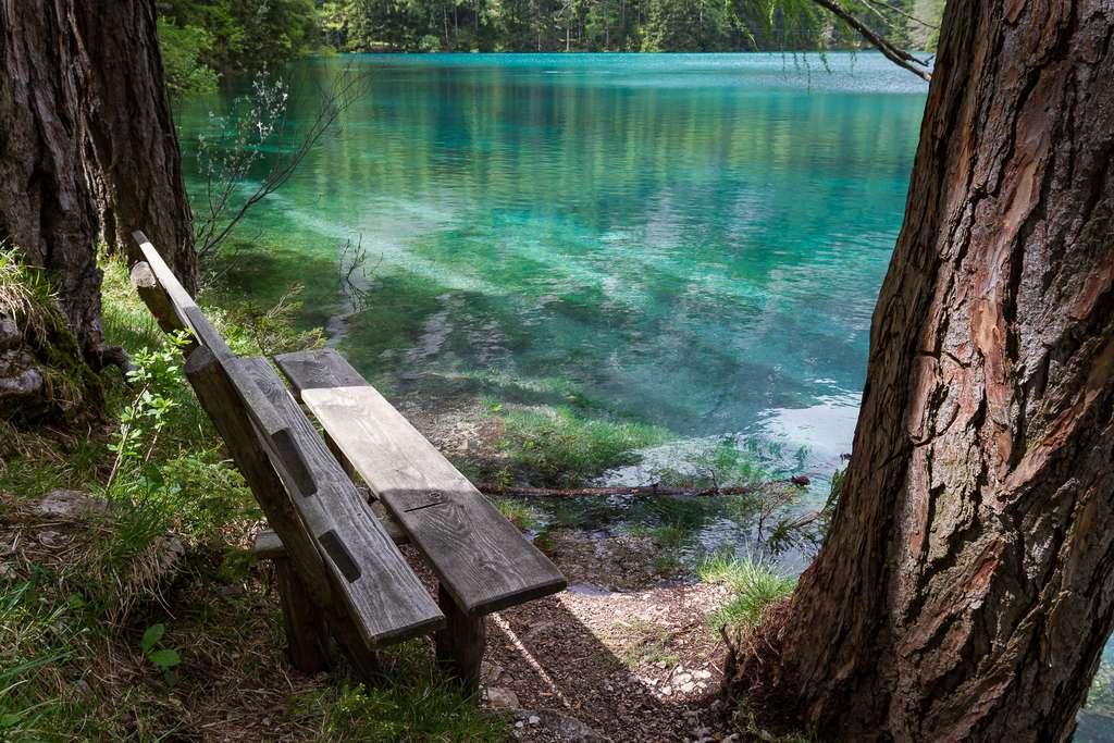 Le seul banc au sec autour du lac Vert