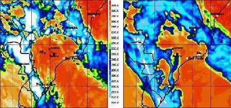 Température de brillance (*) à 10,8 micron (bon indicateur de la convection profonde) le 31 janvier 2005 à 21h UTC. A gauche, observée par Meteosat-8 (Meteosat Second Generation-1), à droite simulée par le modèle Méso-NH. Les températures de brillances inférieures à 205°K (en blanc) indiquent des plafonds nuageux à des altitudes supérieures à 14 km. (*) Remarque : la télédétection ne mesure pas la température réelle d'un milieu, mais sa température de brillance, qui dépend de l'émissivité du milieu étudié. © Laboratoire d'Aérologie. TROCCINOX.