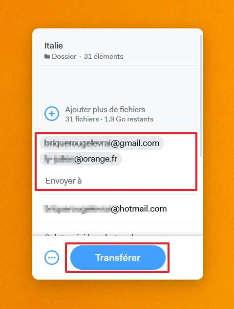 Renseignez jusqu'à trois adresses e-mail des destinataires. © WeTransfer B.V
