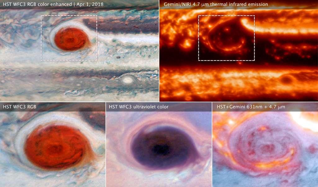Ces images de la Grande Tache rouge ont été obtenues à partir de données recueillies par Hubble et Gemini le 1er avril 2018. Les observations combinées montrent que les zones brillantes en infrarouge sont des éclaircies ou zones avec moins de couverture nuageuse bloquant la chaleur de l'intérieur. Les observations de Hubble et Gemini ont été faites pour fournir une vue de contexte global pour le 12e périjove de Juno. © Nasa, ESA, M.H. Wong (UC Berkeley) et son équipe