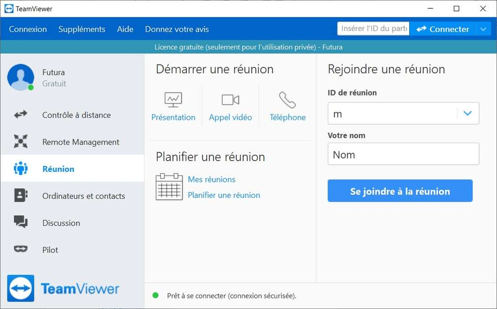 La page « Réunion » du logiciel propose des fonctions de communication en ligne. © TeamViewer GmbH