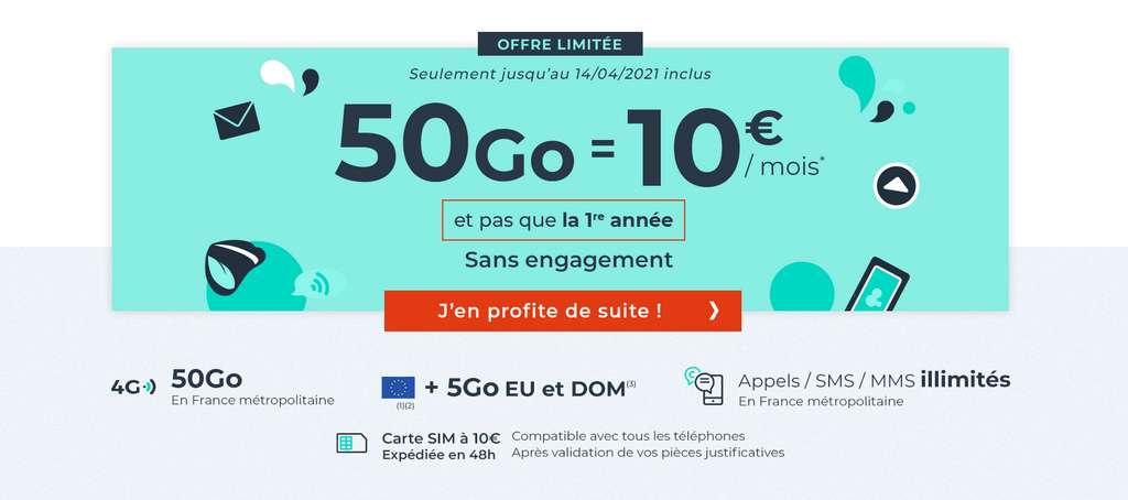 Le forfait 50 Go à seulement 10€ / mois et pas que la première année © Cdiscount Mobile