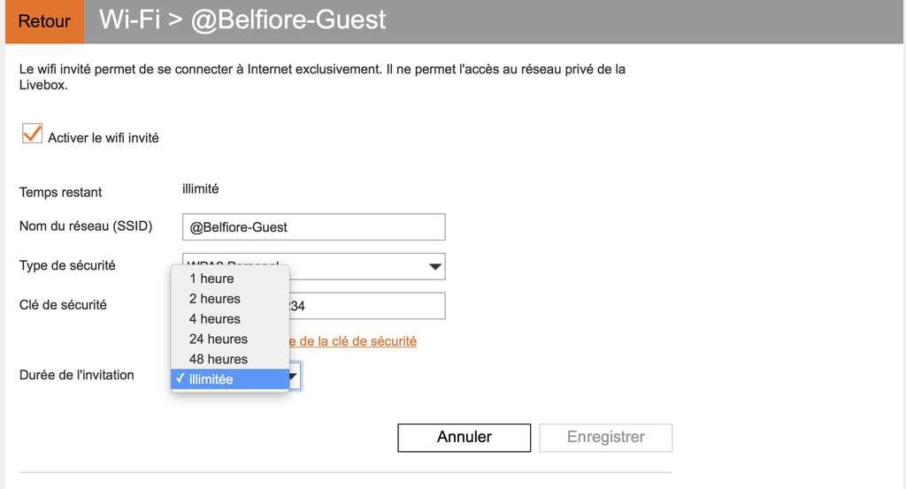 Livebox : paramétrage pour le Wi-Fi partagé. © Futura