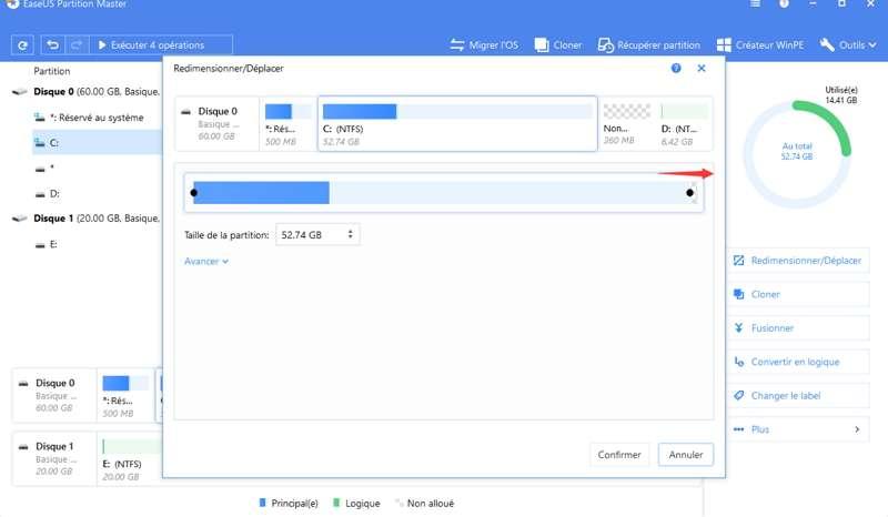 EaseUS Partition Master Free permet de gérer toutes les opérations relatives au partitionnement d'un disque. © EaseUS