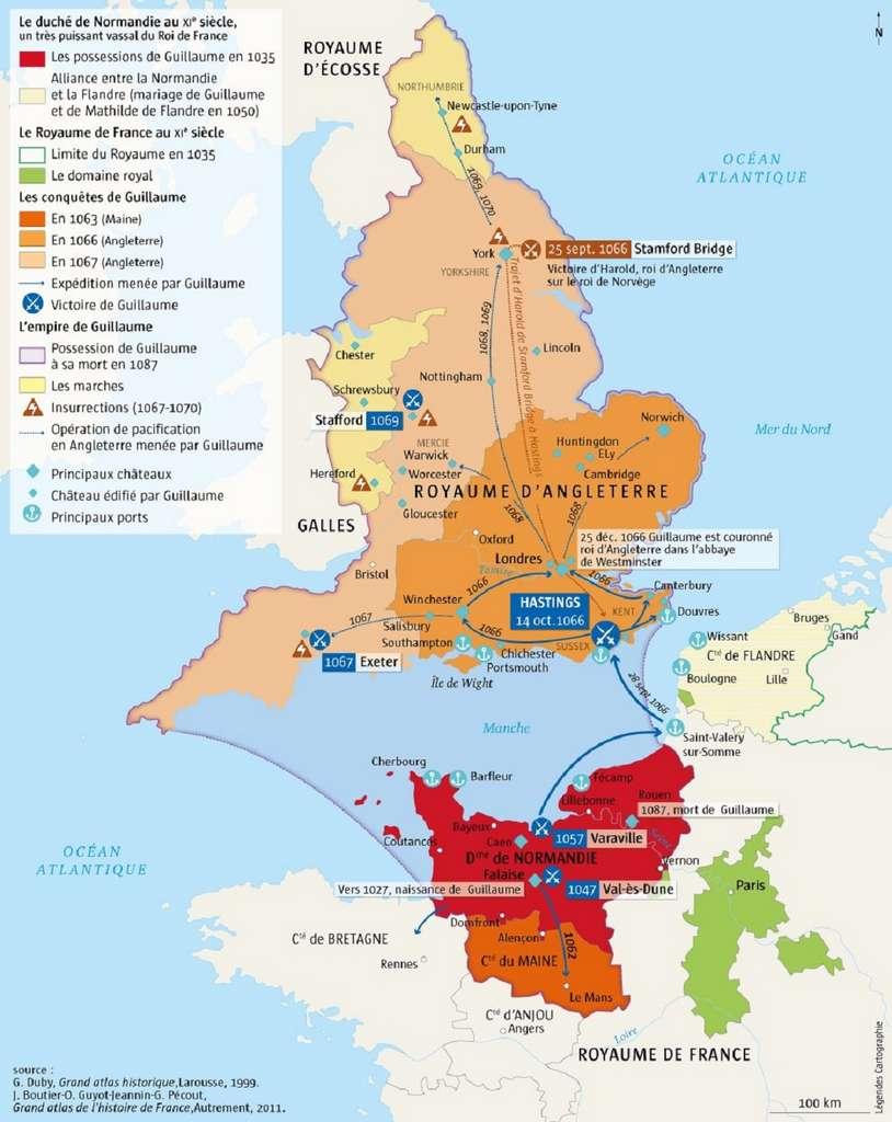 Carte des possessions territoriales de Guillaume le Conquérant vers 1070. Site lhistoire.fr. © L'Histoire.