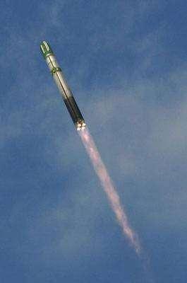 Lancement de Genesis-1 par une fusée Dnepr, un ancien missile balistique SS-18 converti. Crédit Bigelow Aerospace