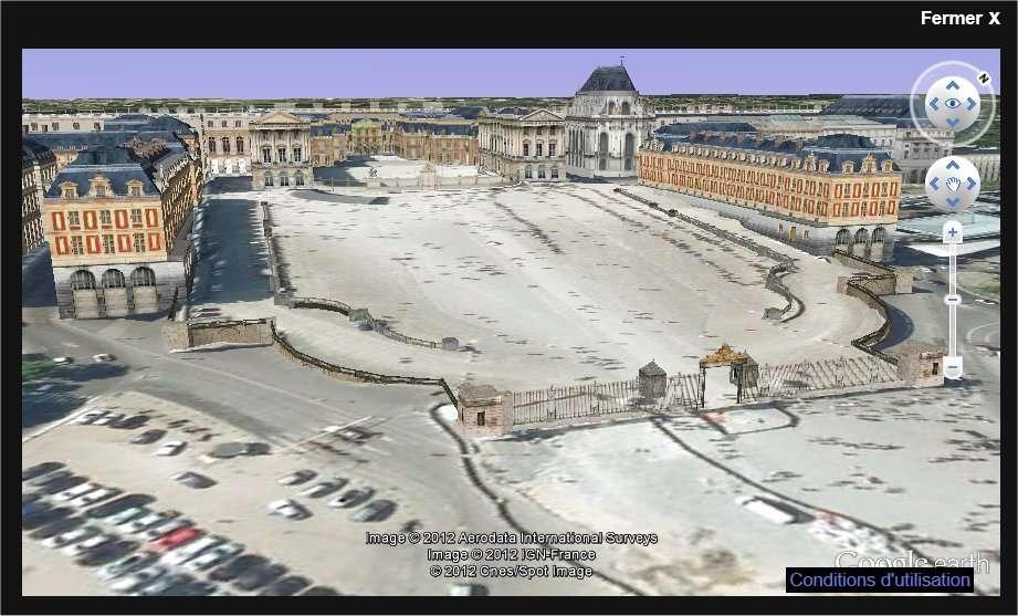 Un modèle 3D du château de Versailles, avec l'interface de Google Earth. © Google