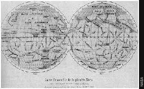 Les premières cartes de Giovanni Schiaparelli montrant un réseau de canaux à la surface de Mars