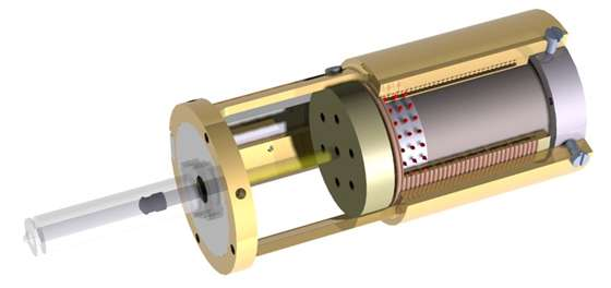 Schéma de cette seringue hypodermique. Le médicament est contenu dans le tube de gauche. Le courant électrique interagit avec l'aimant et la bobine pour modifier le champ magnétique et propulser le piston, éjectant ainsi le médicament qui va traverser la peau. © MIT BioInstrumentation Lab