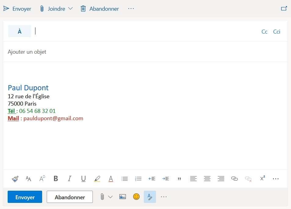 Votre signature sur Outlook pourrait ressembler à cela. © Microsoft