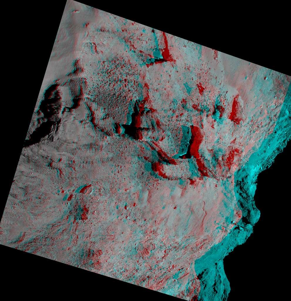 Une vue en relief de la surface de Tchouri à environ 28 kilomètres de distance. © CNES, ESA, Rosetta, MPS pour Osiris Team MPS, UPD, LAM, IAA, SSO, INTA, UPM, DASP, IDA