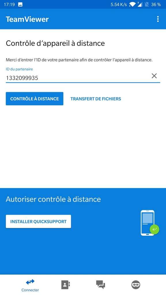Accueil de l'application mobile, on indique l'ID obtenu sur l'ordinateur. © TeamViewer GmbH