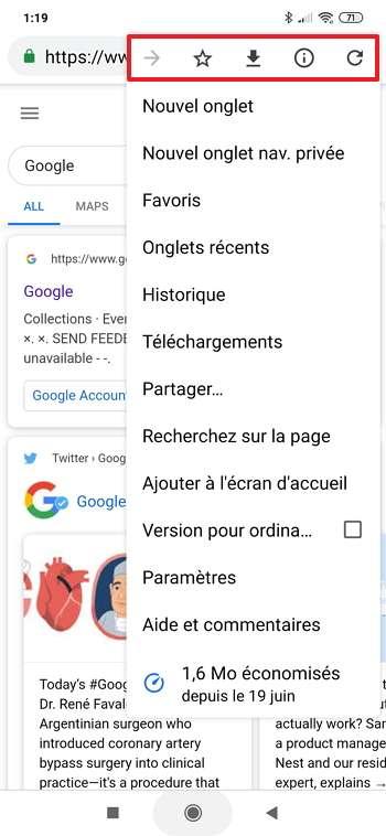 La barre de menu est initialement placée en haut de l'écran. © Google