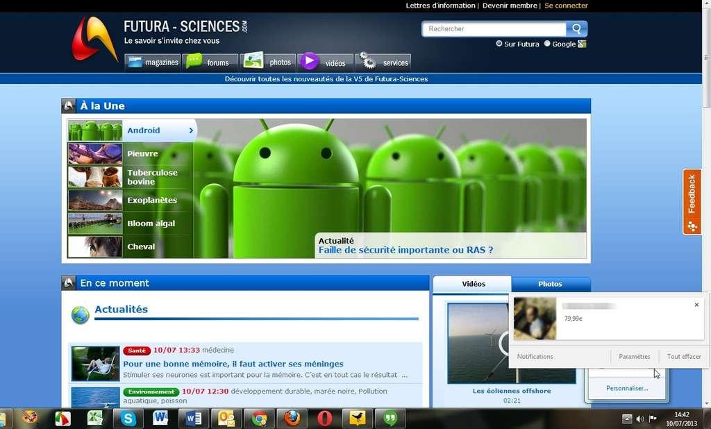 Le centre de notifications de Chrome 28 peut afficher des contenus plus variés, qu'il s'agisse d'images, de liens ou de raccourcis. Il fonctionne indépendamment du navigateur à partir de la barre des tâches de Windows. © Marc Zaffagni, Futura-Sciences